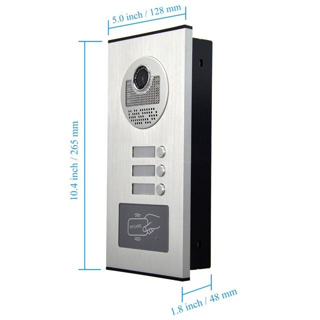 2/3/4 Units Apartment intercom system Video Door Phone Intercom Kits Aluminum Alloy Camera 7″ Monitor video Doorbell 7 ID keyfob
