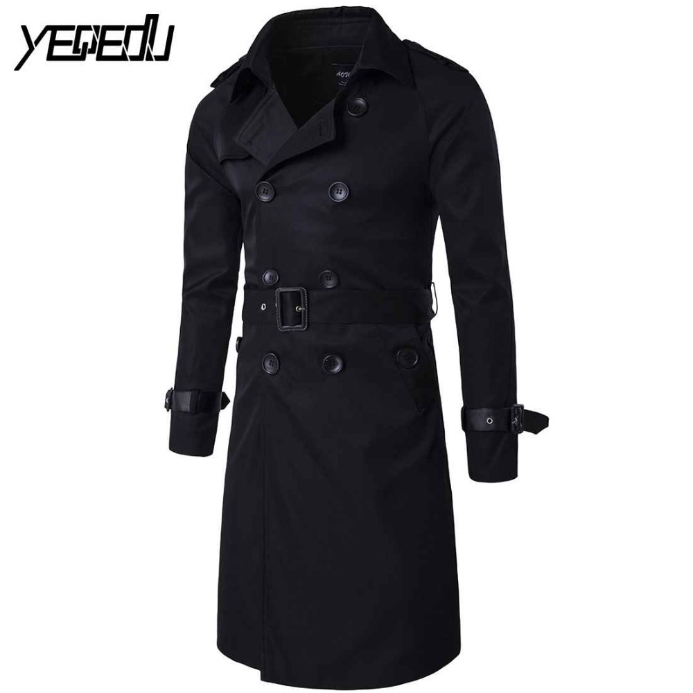 #2407 Fall/winter 2018 Mens long trench coats Plus size Double-breasted Slim Windbreaker Male trench coat Long jacket M-3XL