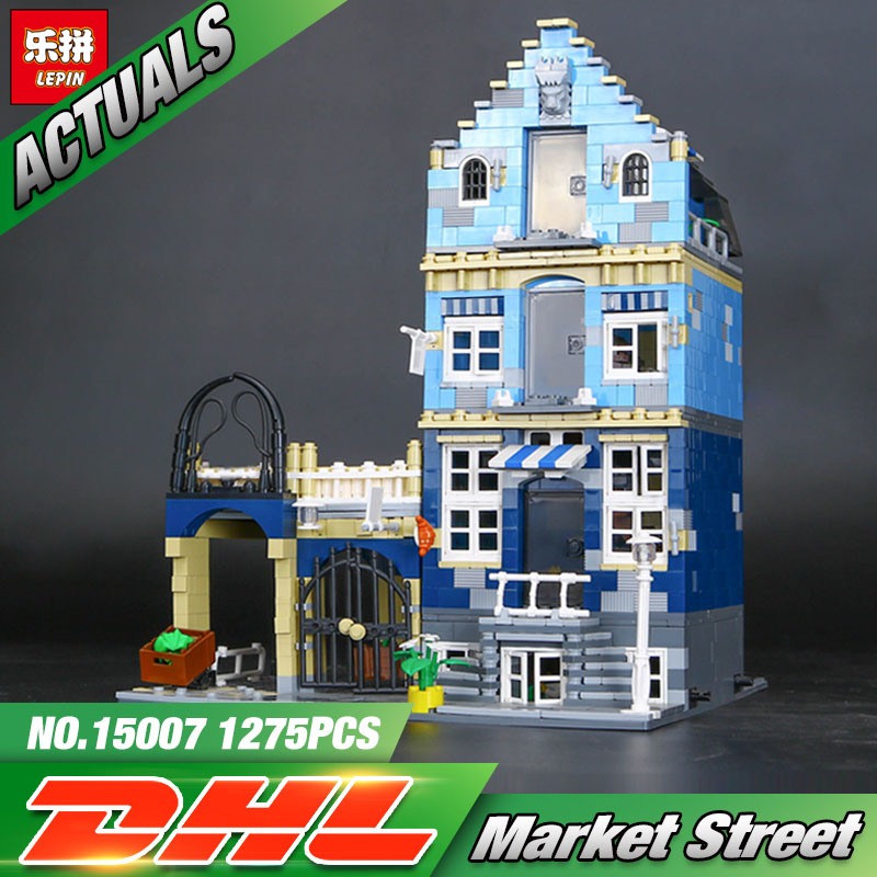 цены  DHL Lepin 15007 Factory City Street European Market Model Building Block Set Bricks Kits  DIY Compatible 10190