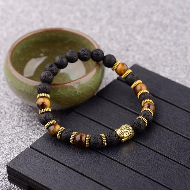 Pulsera de Piedras Naturales y Adorno de Buda
