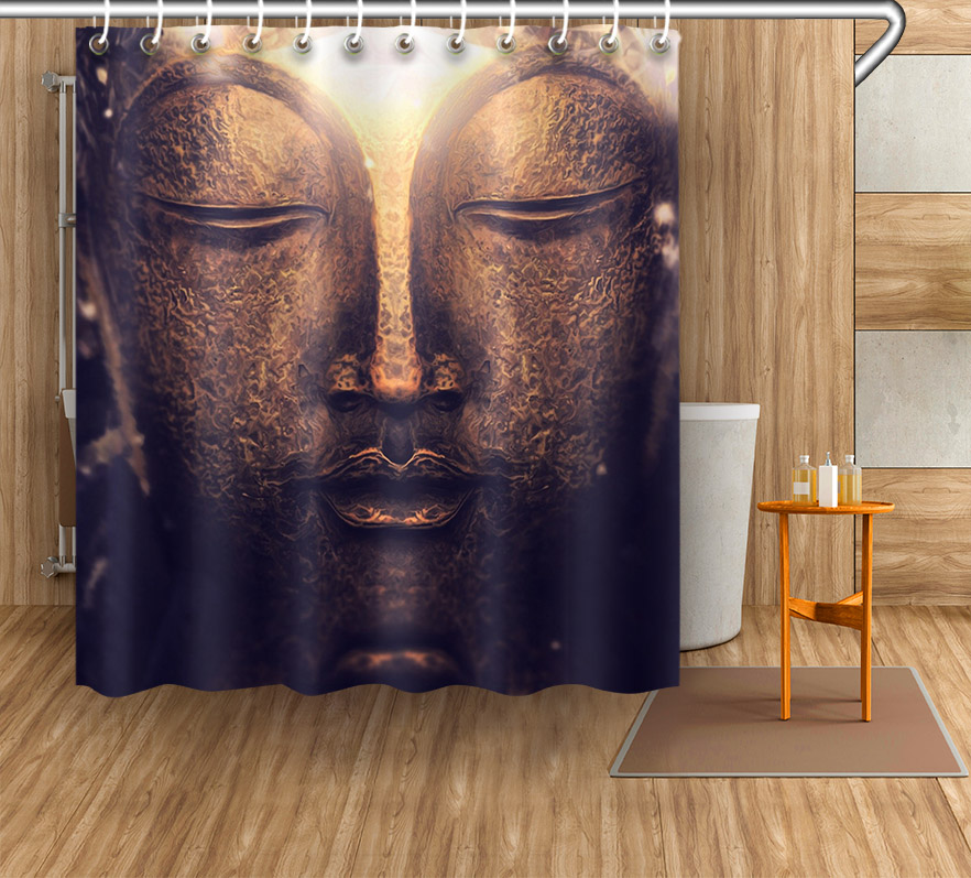 72 Vintage Retro Buddha statue Bathroom Fabric Shower Curtain Liner Waterproof Polyester Curtain Accessory Sets & 12 Hooks