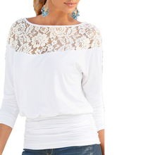 Women Lace Stitching Chiffon Blouses Loose Type Slash neck Shirts Solid Color Three Quarter Sleeve Women Summer Blouse