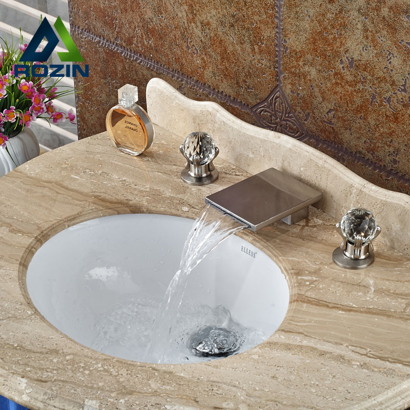 Contemporary Widespread Bathroom Basin Sink Faucet Two Handle Brushed  Nickel Waterfall Tub Sink Mixer Taps(