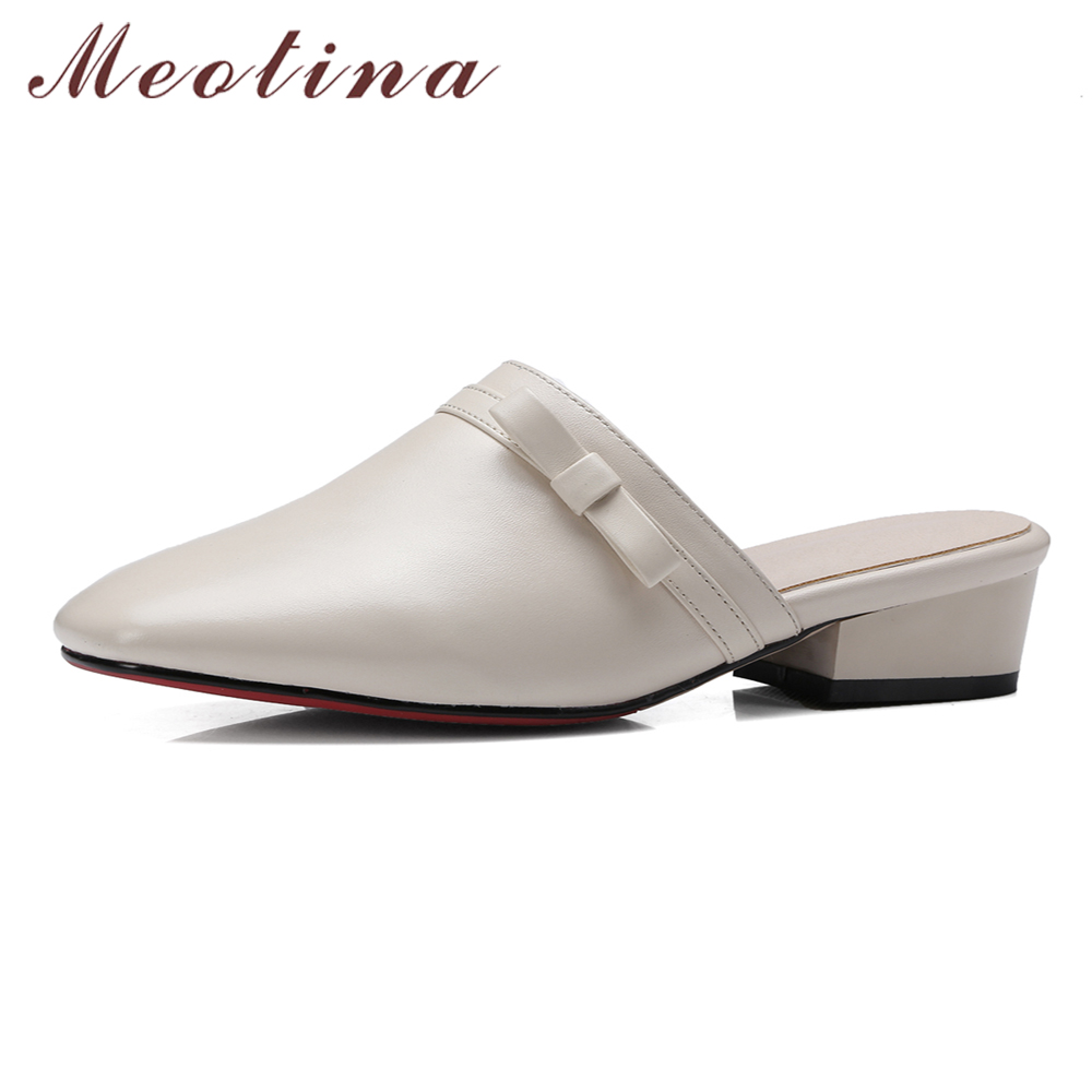Meotina Women Mules Shoes Genuine Leather Sandals Bow Ladies Slides Spring Summer Women Slippers Low Chunky Heels Beige Black 34 meotina brand design mules shoes 2017 women flats spring summer pointed toe kid suede flat shoes ladies slides black size 34 39