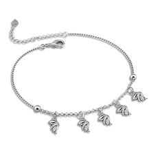Fish pendant anklets fashion and personality.Women solid 925 silver anklets.Cute girl bell anklets.Charming lady silver jewelry