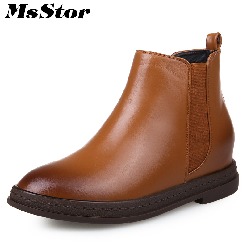 MsStor Round Toe Square Heel Boots Shoes Woman Casual Fashion Elastic band Ankle Boots Women Shoes Low Heel Elegant Boots Woman