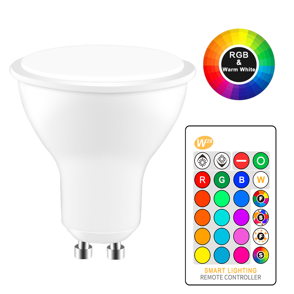 8W LED RGB Light GU10 RGB LED Lamp 110V 220V LED Bulb High Power Lampada LED Lamps 16 Color Changeable With IR Remote Controller-in LED Bulbs & Tubes from Lights & Lighting