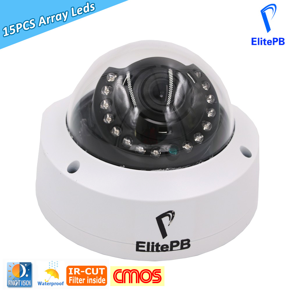ElitePB 1/3 CMOS HD 1200TVL Dome Analog CCTV Camera indoor IR CUT Night Vision 15 Pcs array led Security camera Mini camera hd 1mp ahd security cctv camera 720p indoor dome ir cut 48leds night vision ir color 1080p lens