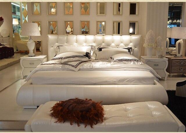 1 lit + 2 nuit stand/1 lot) moderne mobilier de chambre en cuir # CE ...