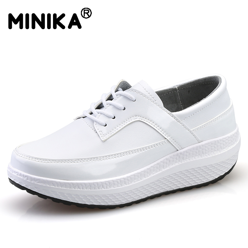 Minika Women Fashion Height Increasing Shoes Platform Wedges Swing Shoes Chaussure Femme Casual Lace Up Gold Silver Shoes Flats women sandals 2017 summer style shoes woman wedges height increasing fashion gladiator platform female ladies shoes casual