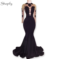 Long Prom Dresses 2018 Gorgeous Sheer Long Sleeve Top Lace Backless African Floor Length Black Mermaid Prom Dress