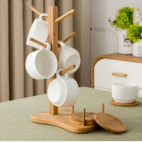 New Hot Sale Cup holder+Coasters Creative Mug Tea Coffee Stand pylons storage rack Hanging Cup Rack With kitchen tables