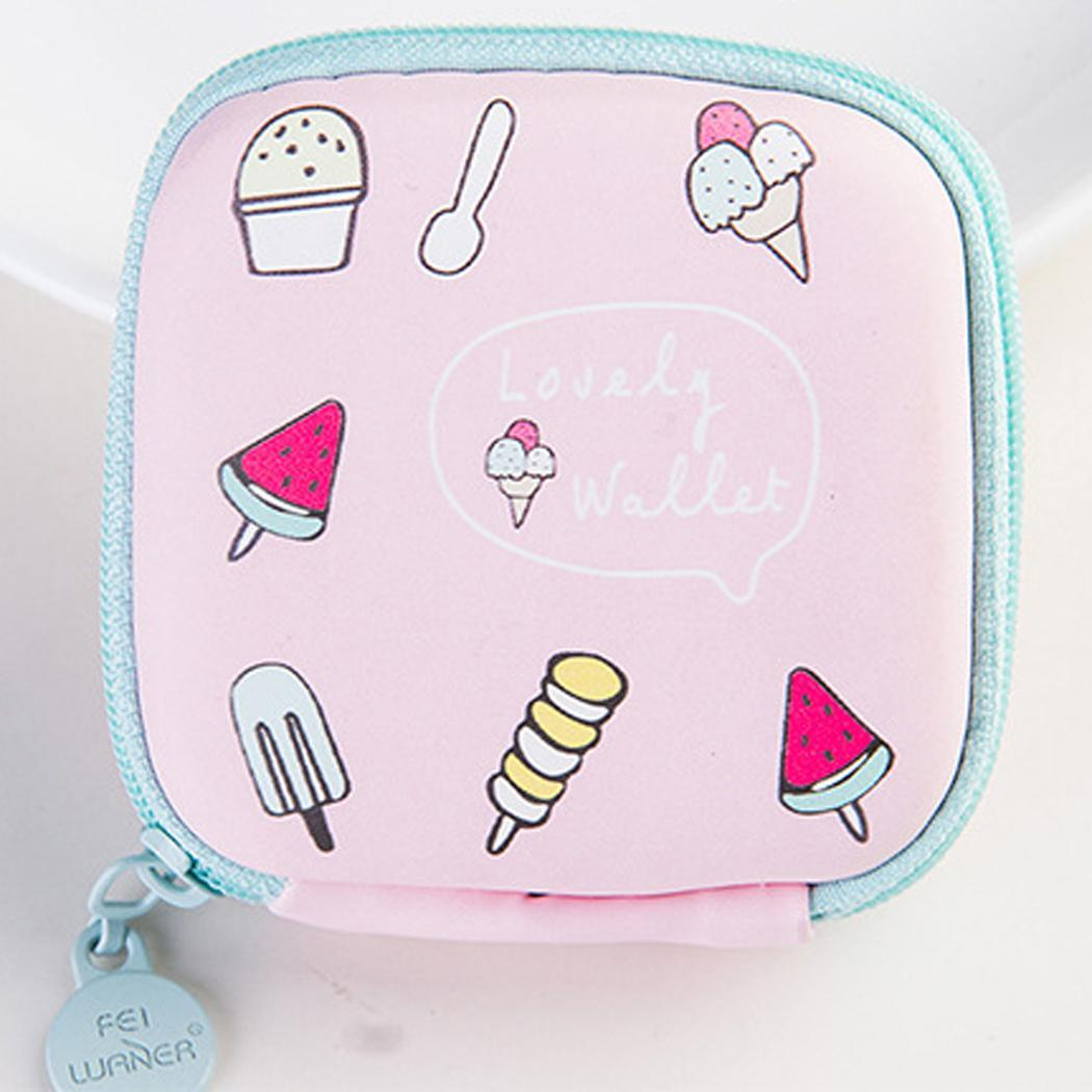 In-Ear Earphone Pouches Storage Cases Headphone Carry Square As Picture Bag Cloth Fruit