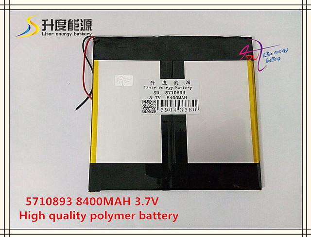 3.7 V 8400 mAH SD 5710893 (bateria de iões de lítio polímero) bateria Li-ion para tablet pc, DVD; banco do poder, E-BOOK