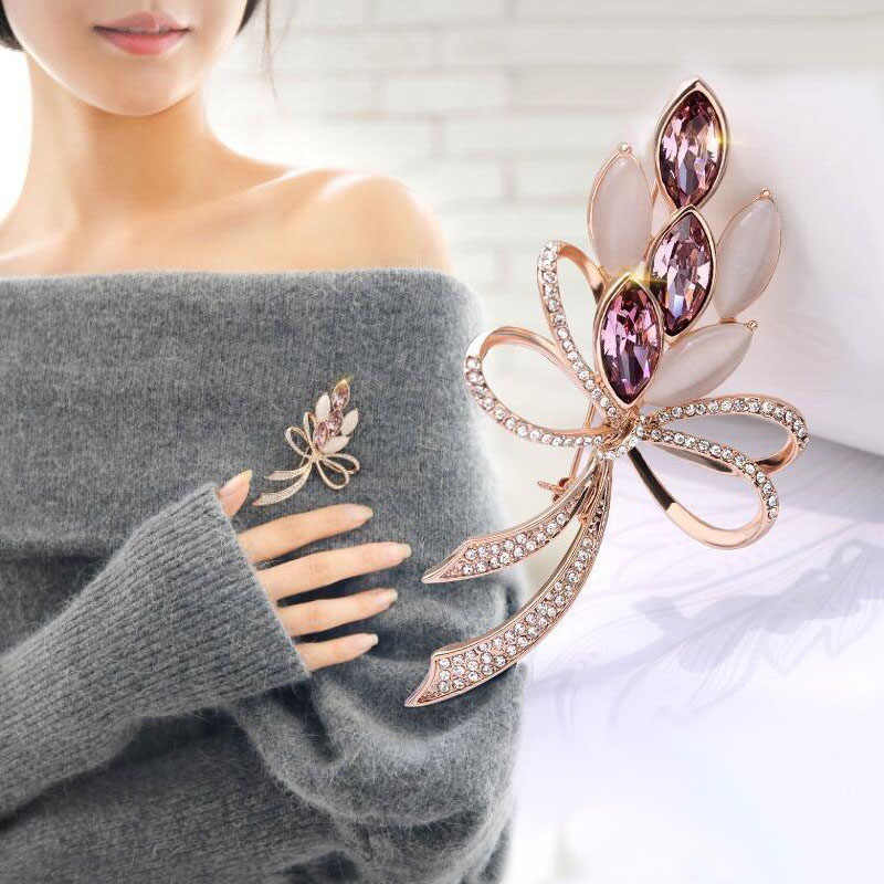 3 colors available Classic Exquisite Female Golden Bright Opal shining crystal big Bow brooches Pin for women wedding bouquets