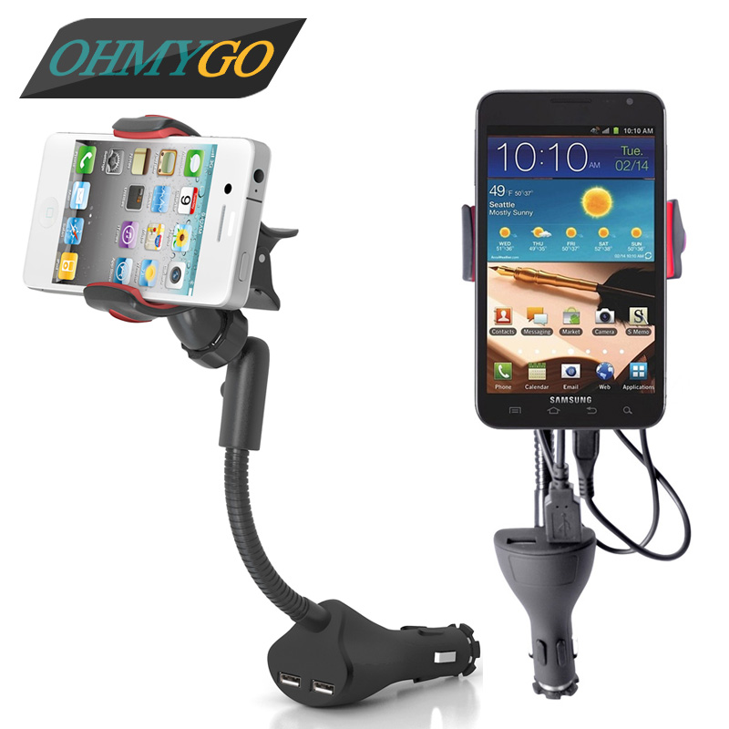 imágenes para Teléfono Universal del coche con Dual USB cargador para Iphone Samsung Galaxy Note Xiaomi GPS soporte móvil Mount soporte del teléfono