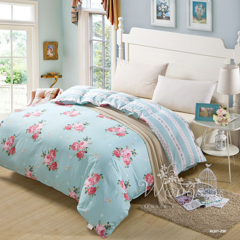 Sky Blue Flower New Contracted 100 Cotton Bedding Sets