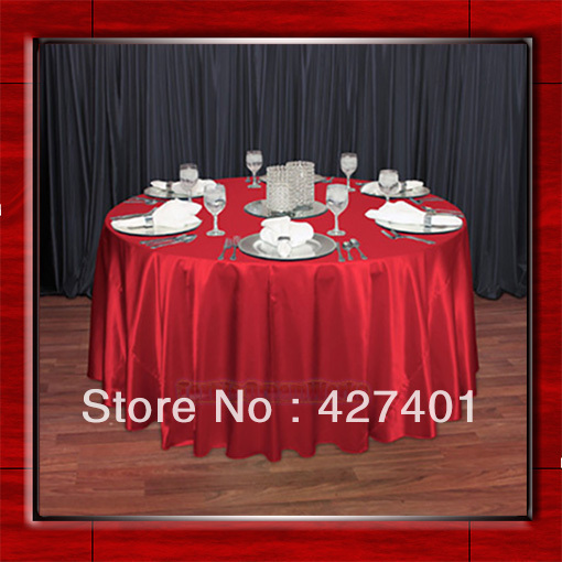 "Hot Sale Red Shaped Poly Satin Table Cloth Wedding Meeting Party Round Tablecloths/Table Linen (128"" Round )"