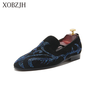 Mens Italian Luxury Dress red bottom Shoes Genuine Leather wedding Designer Rhinestone Loafers Shoes Men High Quality Man Shoes