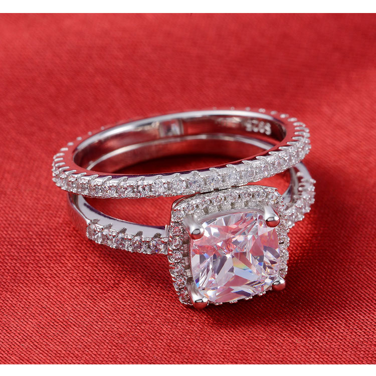 Moonso New Popular Classic Girl Real 925 Sterling Silver Ring Set Pair Wedding  Engagement CZ Zircon The Rings For Women T01090 In Rings From Jewelry ...