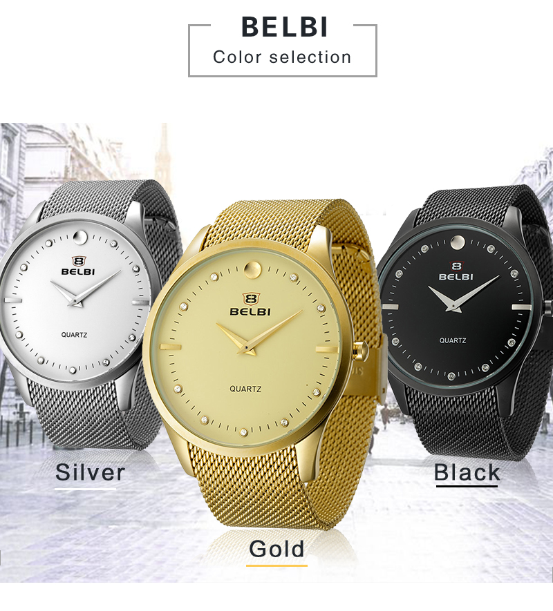 05806516c NEW Style Fashion Men Wristwatch Thin Steel Bracelet Waterproof Gentlemen  Watch Business Quartz Clock Brand BELBI Hodinky