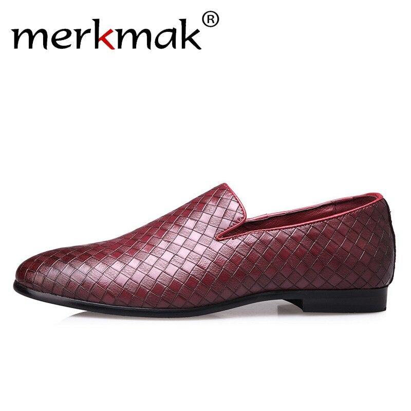 f00e5f7e4 Merkmak Homens Sapatos Marca De Luxo de Couro Weave Casual Loafers  Deslizamento Em Sapatas de Vestido Dos Homens Tamanho Grande 37-47
