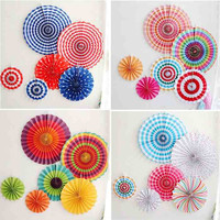 6pcs Set Colorful Wheel Tissue Paper Fans Flowers Balls Lanterns Party Decor Craft For Bar Birthday