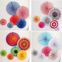 6pcs Set Colorful Wheel Tissue Paper Fans Flowers Balls Lanterns Party Decor Craft For Bar Birthday