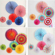 Фотография 6pcs/set Colorful wheel Tissue Paper fans Flowers balls lanterns Party Decor Craft For Bar Birthday Party Wedding Decoration
