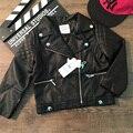 2017 Atacado de moda primavera quente meninas algodão longo-sleeved preto pu casacos de couro