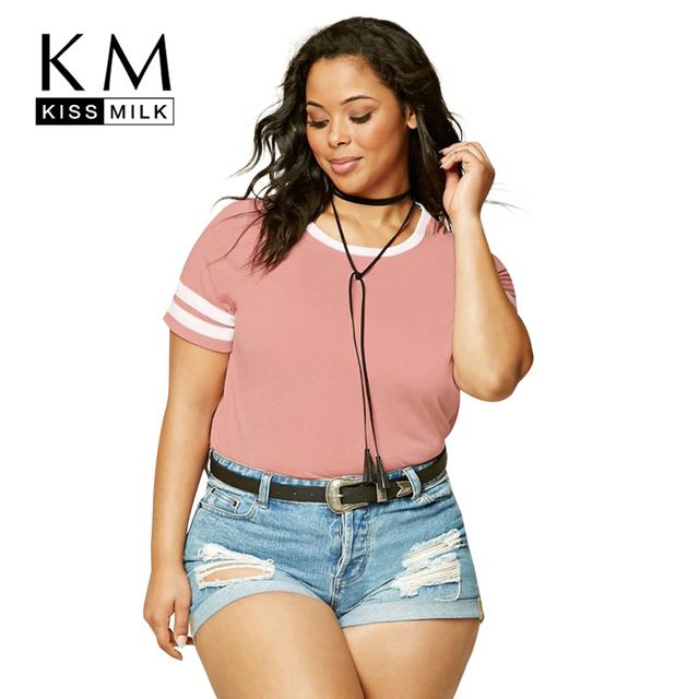 Kissmilk Plus Size Nuevas Mujeres Ropa Casual O-cuello Sólido Tops Streetwear del Estilo de Muy Buen Gusto de Gran Tamaño de La Camiseta 3XL 4XL 5XL 6XL
