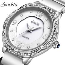 SUNKTA2019 New Womens Watch Top Brand Luxury Ceramic Waterproof Women Diamond Quartz Wristwatch Ladies watch Reloj Mujer