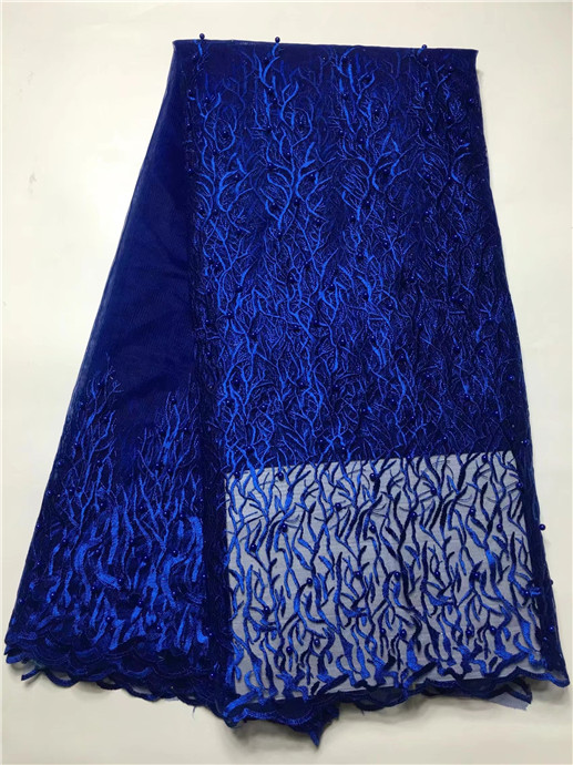 2017 High Quality African Laces Embroidery Fabrics Royal Blue Beads African Net Swiss Lace Fabric
