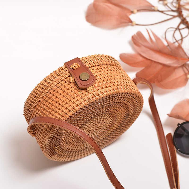 Circular rattan saco 2019 ins verão sacos de palha bolsa artesanal bali praia bolsa de ombro tecido boho ajustar alça de couro do plutônio bolsa