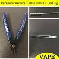 Cerâmica Pinça + plato cortador + Jig Bobina Rda Rba Rta Atomizador DIY Ferramentas kit Caneta Vape Cigarro Eletrônico Bobina acessórios
