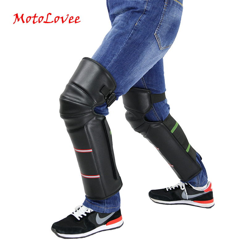 MotoLovee Motorcycle Riding Warm Knee Pad Motorbike Kneepad Leg Protective Warmer Winter Against Wind PU Leather Waterproof