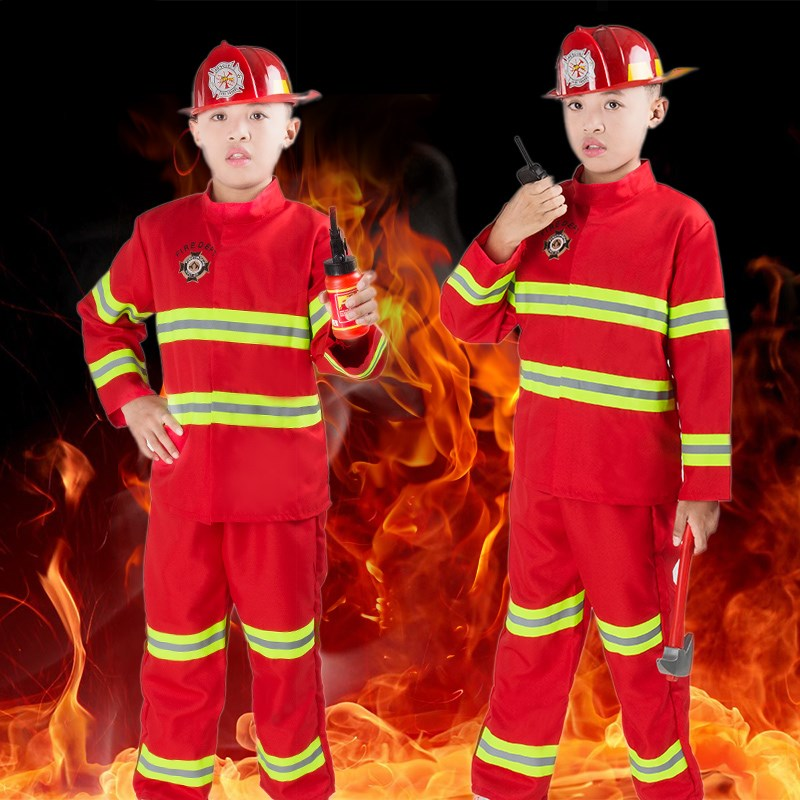 100-180cm Family Matching Clothes Firefighter Dress Up Army Suit Fireman Kids Adult Cosplay Costumes Halloween Baby Boy Set