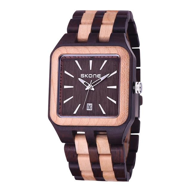 Zegarek drewniany SKONE prostokątna tarcza 3 kolory