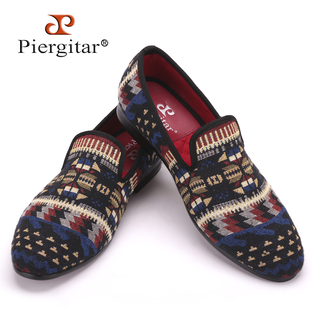 Piergitar handcrafted using Korea cotton in a traditional print men loafers fashion men mixed colors Knitted shoes men's flats french polishing finishing and restoring using traditional techniques