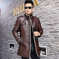 Leather suede goat skin coat men genuine leather jacket wool liner fur one piece leather winter male free shipping New Phoenix