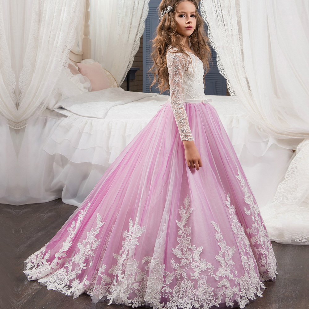 Christmas Girls Pageant Dresses Sheer Neck Beaded Appliques Flower Girl Dress Ball Gown White Ruffles Tulle Long Girls Gowns