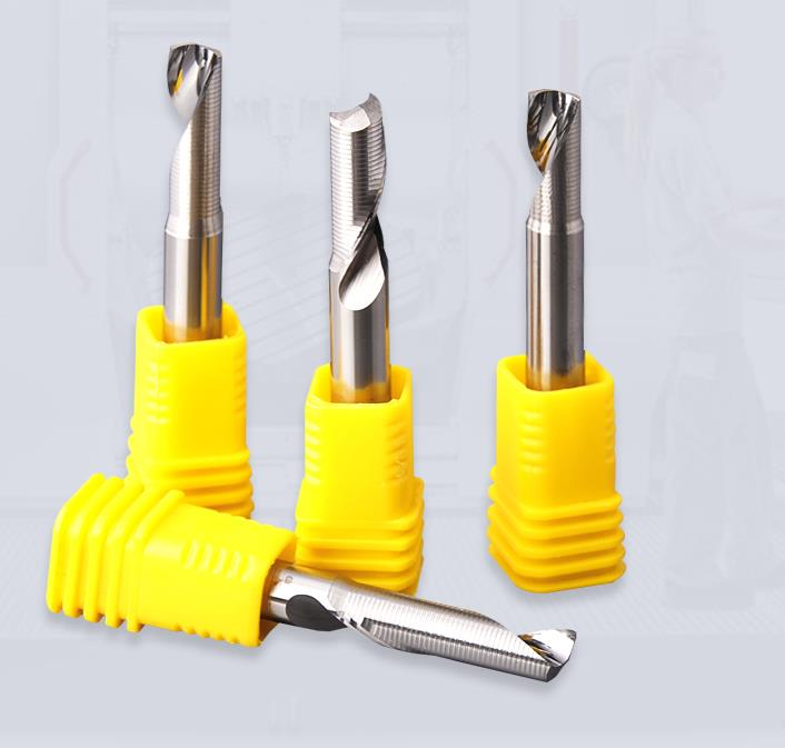 JIALING 1PC one flute aluminum cutting cutter tools step cnc router bits/end mill for aluminum