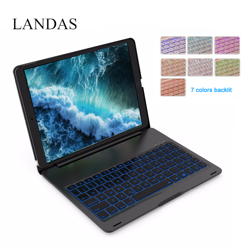 Landas Case With Keyboard For iPad Pro 10.5 Smart Keyboard Cover Aluminum alloy Bluetooth Backlit Keyboards Wireless For iPad PC aluminum keyboard cover case with backlight backlit wireless bluetooth keyboard page 8