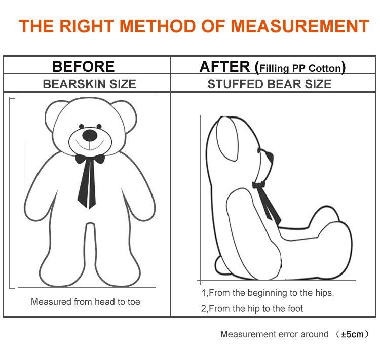 Niuniudad peluche en peau d'ours en peluche poupées ours Semi-fini en peau d'ours jouets 300 cm - 5