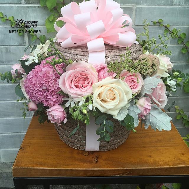 straw straw hat flower basket creative hug barrels box personality ...