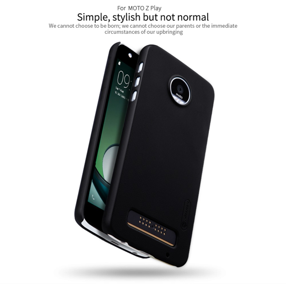 Nillkin frosted phone bag case for moto z paly hard plastic back cover + Gift Screen Protector for motorola moto z play pro case