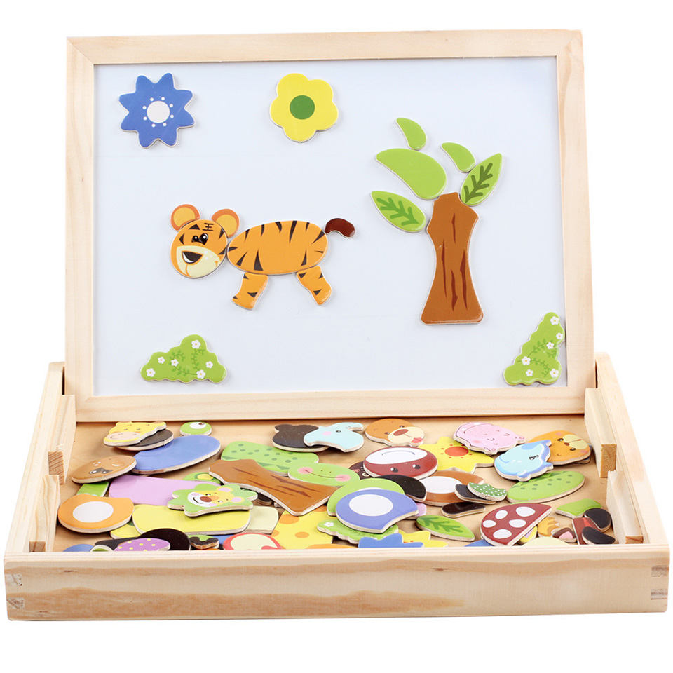Jouets en bois Puzzles animaux Force magnétique enfants éducatifs début Multi fonction Double face planche à dessin pensée Active