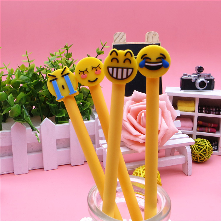 2018 Hot Sale Novelty Yellow Face Smile Laugh Crying Shy Expression Gel Pen Ink Marker Pen School Office Supply Gift Pen E0631