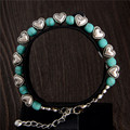 Fashion Bohemia stylish shiny noble heart Turquoise Beads charming Bracelet Handmade Accessories Fashion Jewelry