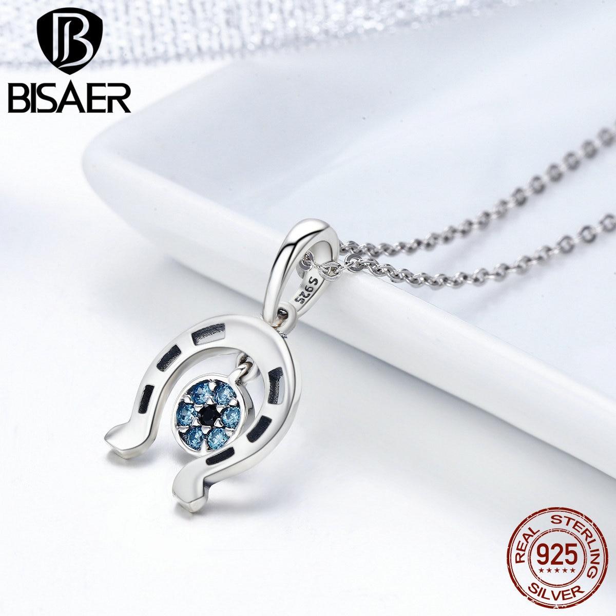 100% 925 Sterling Silver Lucky Blu Evil Eyes A Ferro di Cavallo Ciondoli e Collane Catene di Collegamento Donne Femme Collare Fine Jewelry